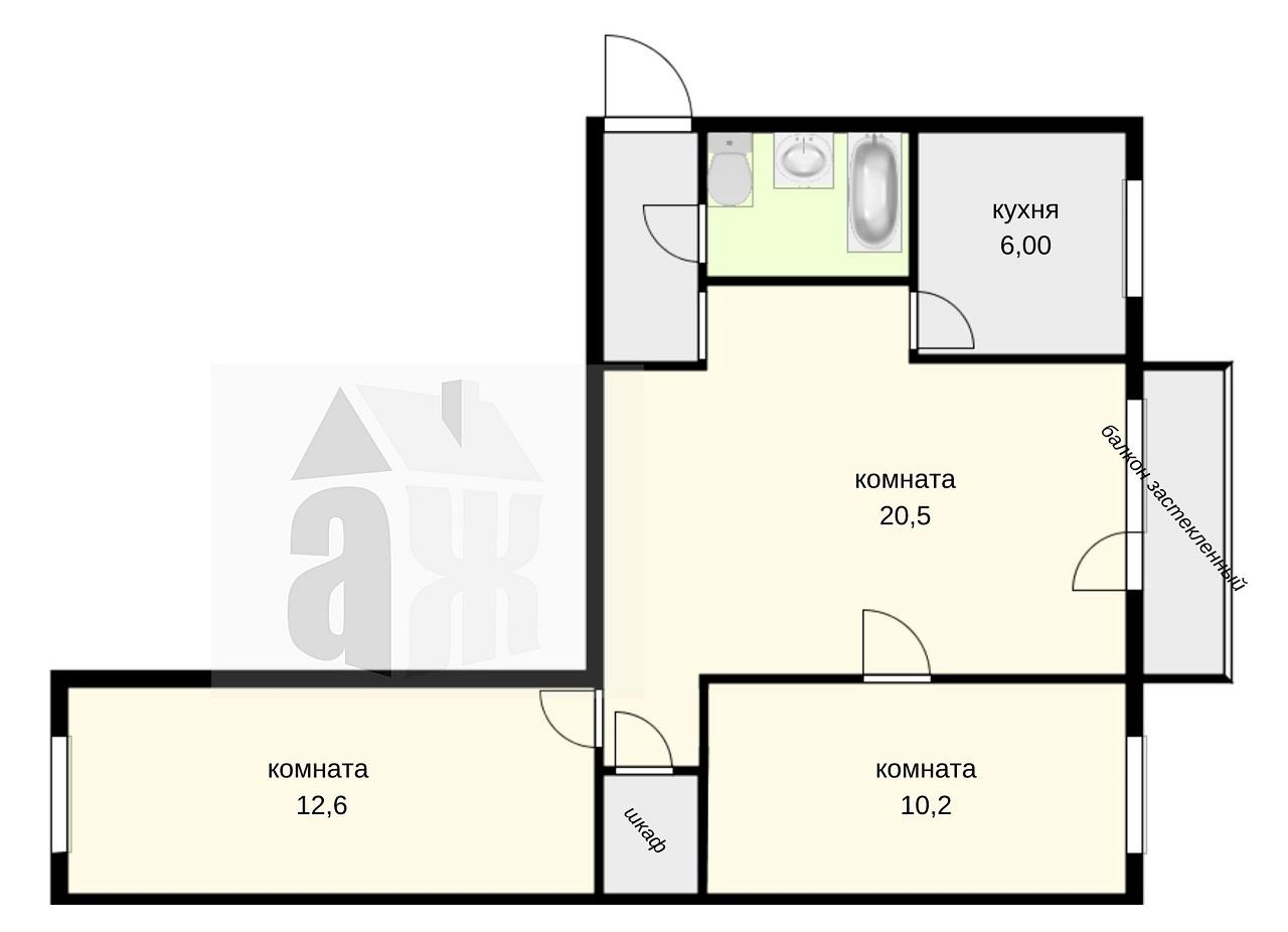 3-комнатная квартира, Томск, Иркутский тракт, 154