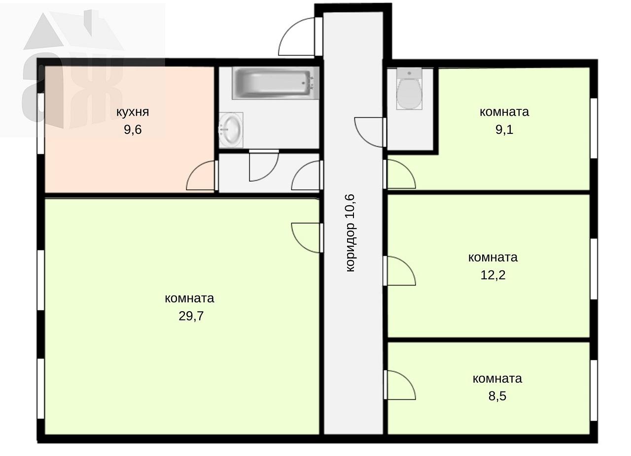4-комнатная квартира, Томск, Фрунзе, 230