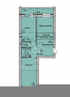 пер. 2-й Экскаваторный, 3, 1-комнатная квартира