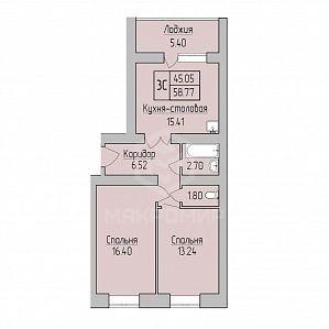 Юности, 3, 3-комнатная квартира