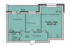 пер. 2-й Экскаваторный, 3, 3-комнатная квартира