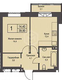 Охотская, 3, 1-комнатная квартира