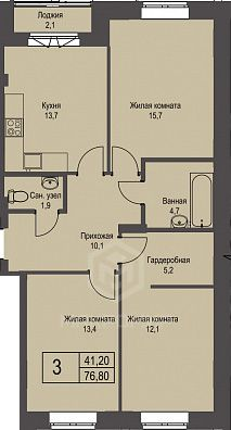 Охотская, 3, 3-комнатная квартира