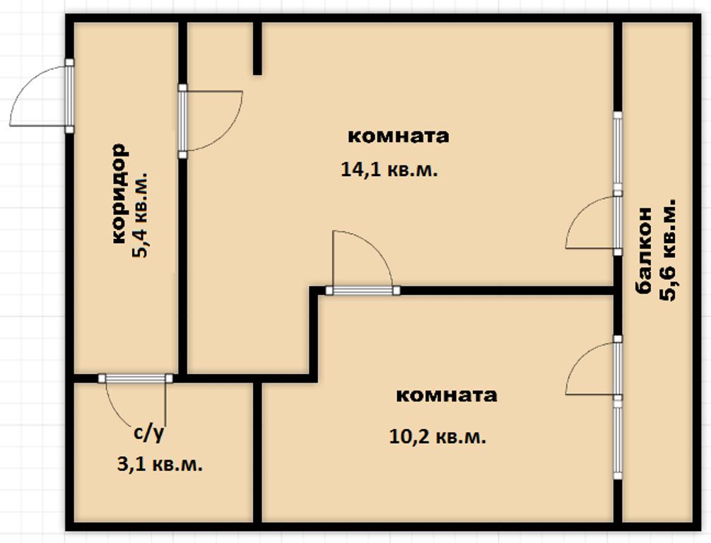 г Краснодар, Измаильская, д.74 к.8 32,80 м²