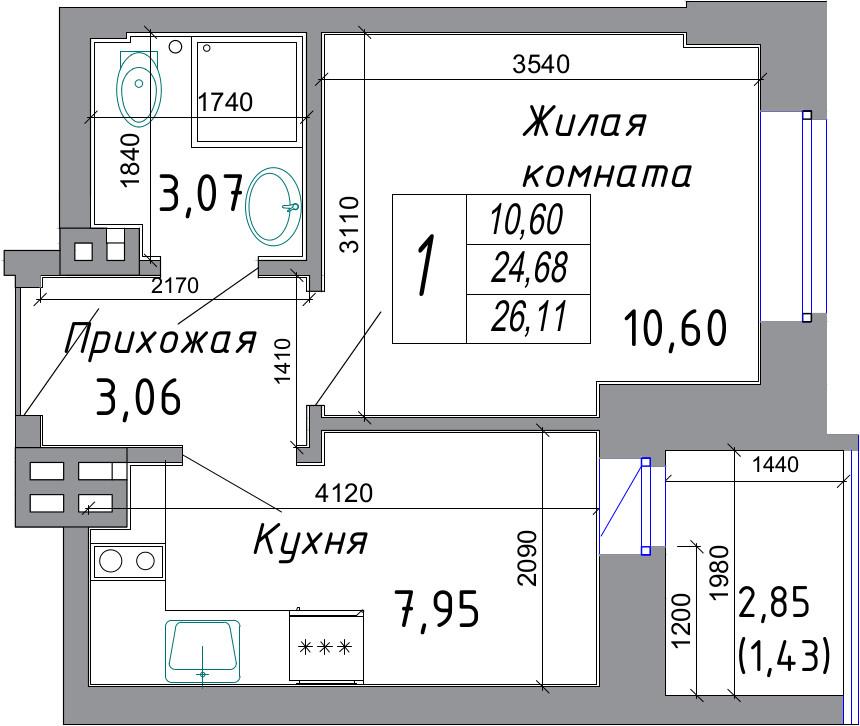 Продажа / Однокомнатная квартира новостройка