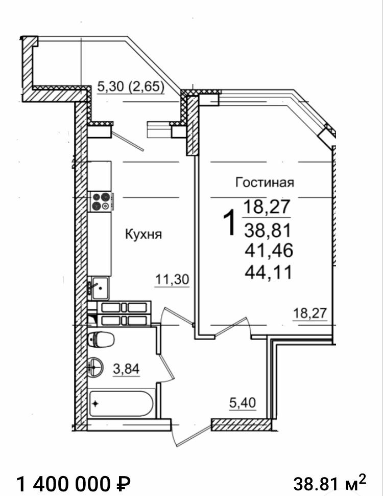 Продам 1-комнатную квартиру в городе Энгельс, на улице Шурова Гора, 7, 9-этаж 25-этажного Монолит дома, площадь: 38/18/11 м2